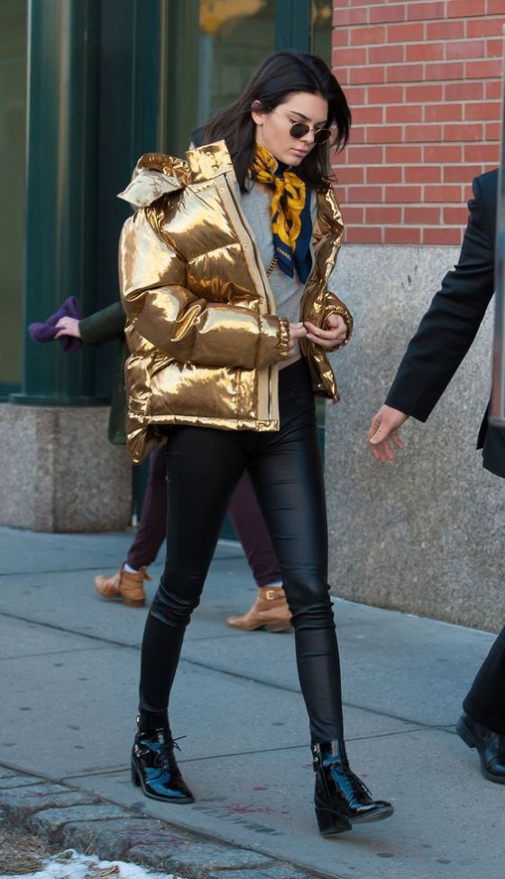 Kendall Jenner Gold Puffer Jacket Street Style