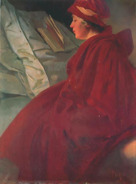 Альфонс Муха - Женщина в красном плаще. 1902