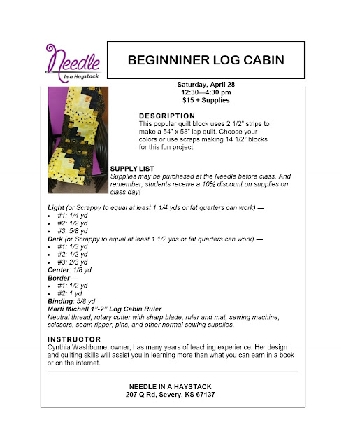 BEGINNER LOG CABIN...Sign up for class along with a buddy & You Get 25% off this April 28, 2018 Class.