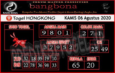 Prediksi Bangbona HK Kamis 06 Agustus 2020