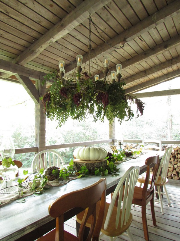 Outdoor Fall Tablescape featuring white pumpkins, outdoor chandelier, antique,
