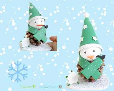 Muñeco de nieve con piñas de pino