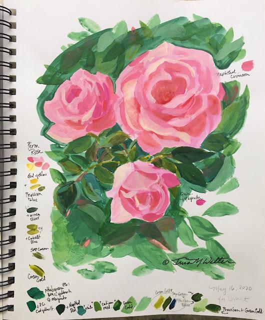 Pink Roses Sketch ©2020 TinaM.Welter