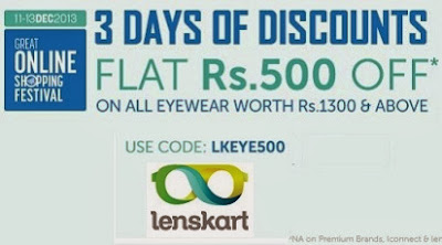Great Online Shopping by Google: Get Flat Rs.500 Off on Sunglasses | Eyeglasses | Contact Lenses (Valid on Cart Value of Rs.1300 & above) at Lenskart