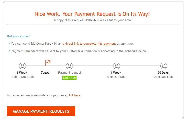 Payoneer Manage Payment Request