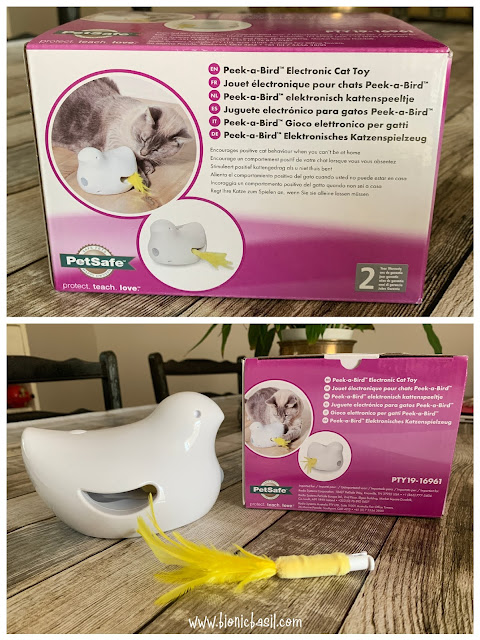 What's In The Box ©BionicBasil® Peek-a-Bird Electronic Cat Toy