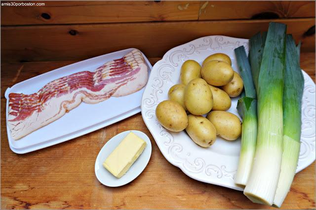Ingredientes del Hash de Patatas, Puerros y Beicon
