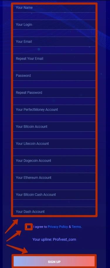 Регистрация в BitFlash 2