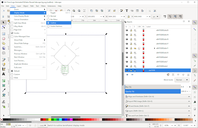 Exported animation reopened in Inkscape, display mode 'outline'.