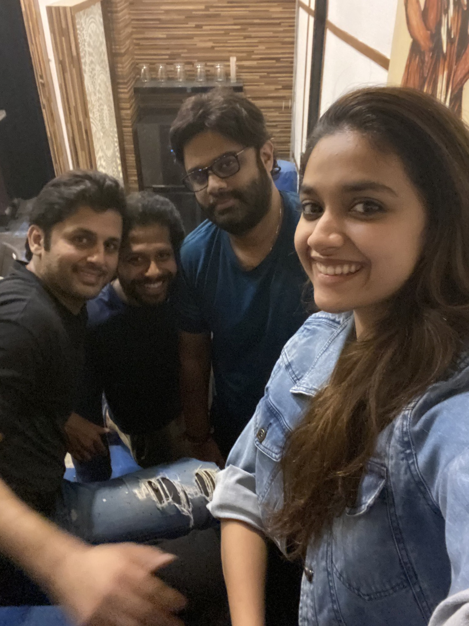 Keerthy Suresh in Blue Awesome Pretty Smile with RangDe Team Selfie