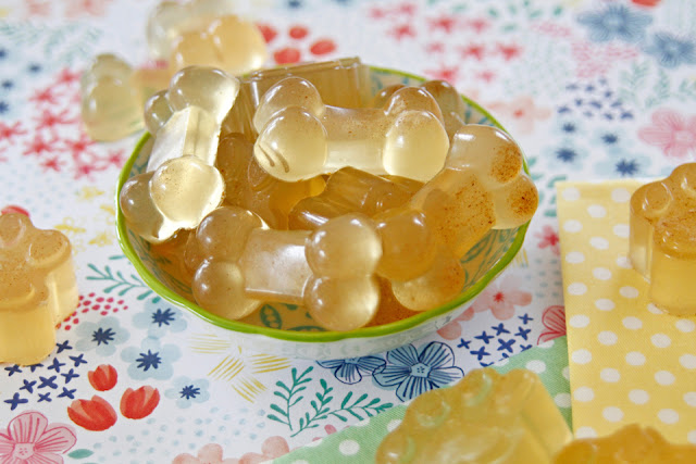 Homemade chamomile gelatin gummy dog treats