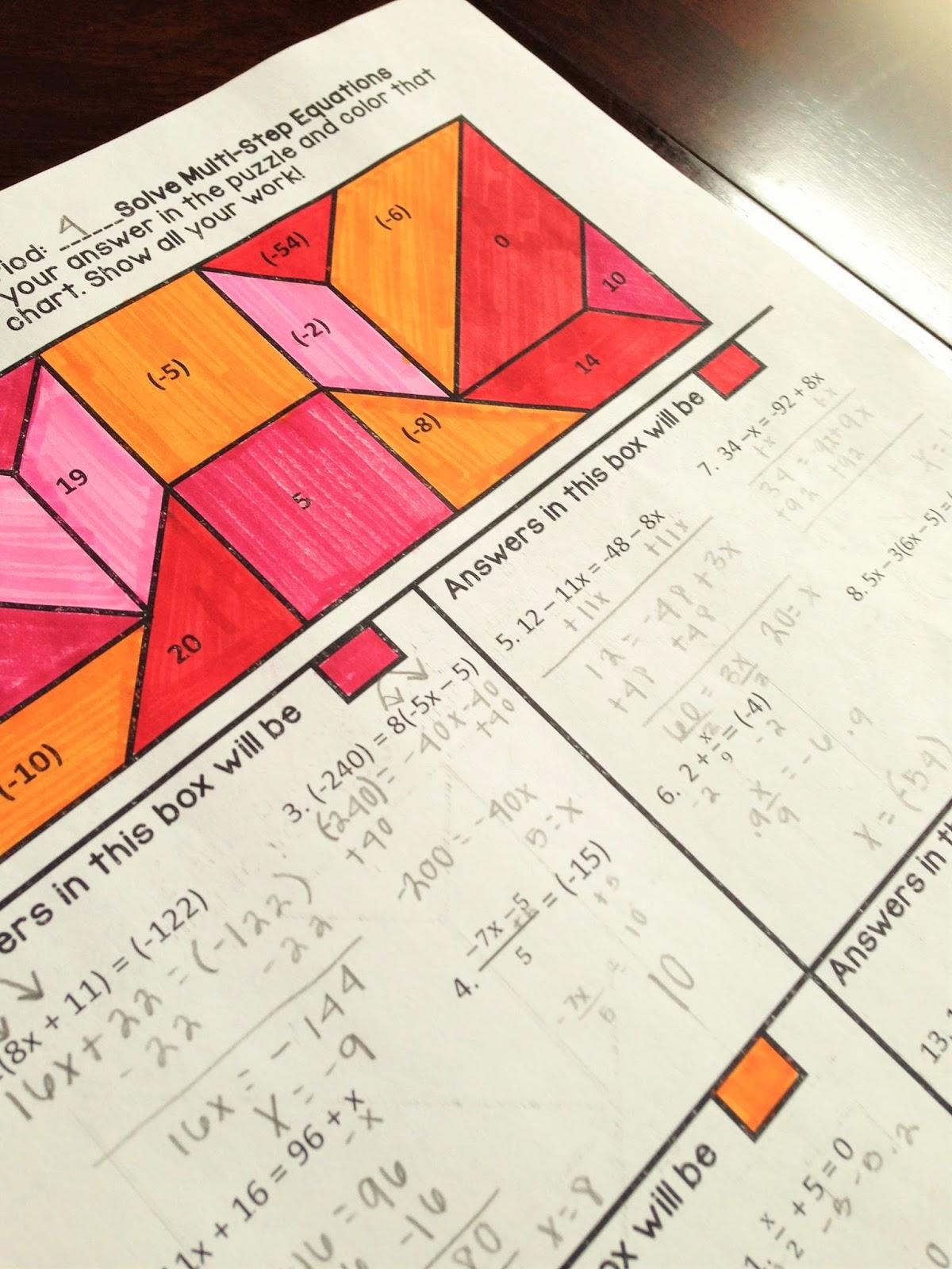 Math Dyal Coloring Activity Flash Freebie May 20
