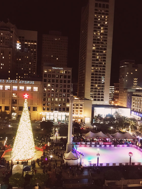 Christmas in San Francisco: lots of holiday fun is to be had at Union Square, with ice skating, a giant Christmas tree, and more.