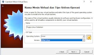 Memilih sistem operasi dan versi OS yang akan diinstal pada Virtual Box
