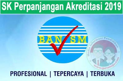 SK Perpanjangan Akreditasi Sekolah Tahun 2019 Semua Provinsi