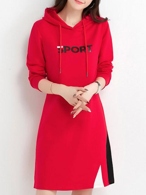 Hooded Color Block Shift Dress