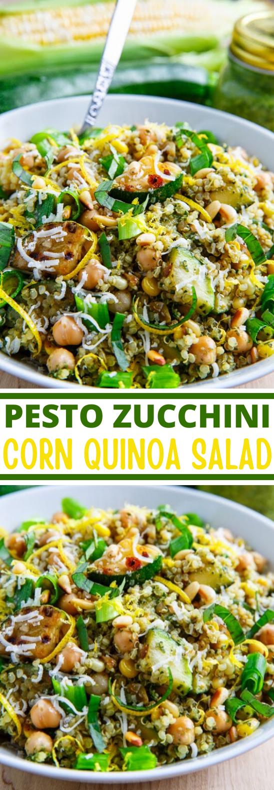Pesto Zucchini and Corn Quinoa Salad #vegan #healthy #lunch #salad #glutenfree