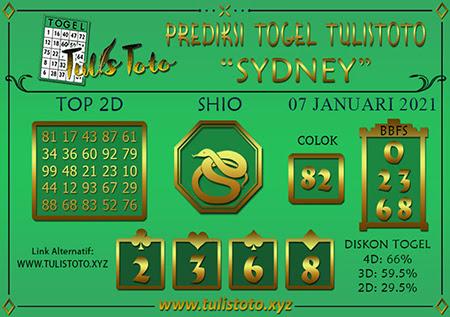 Prediksi Tulistoto Sydney Selasa 07 Januari 2021