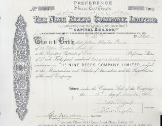 Share certificate of The Nine Reefs Company, Limited signed by Robert Taylor