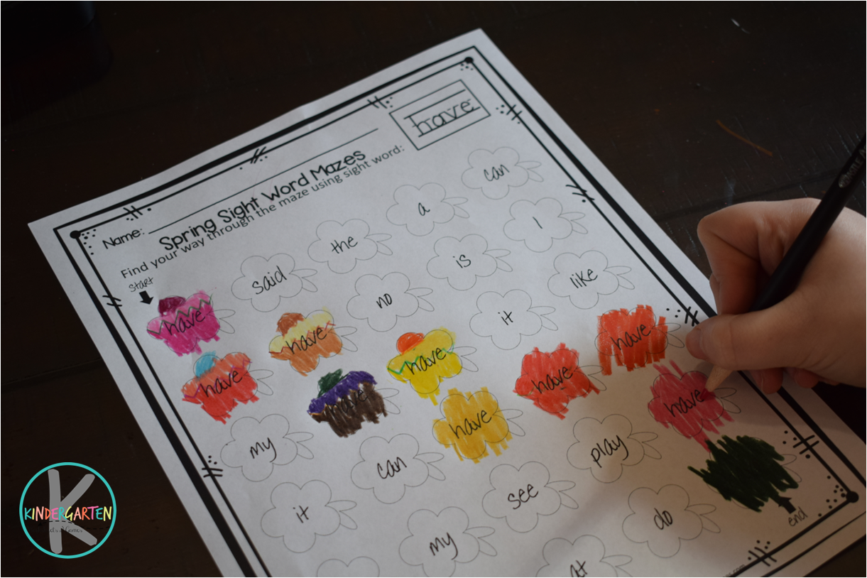 Free Flower Sight Words Maze Worksheets Kindergarten