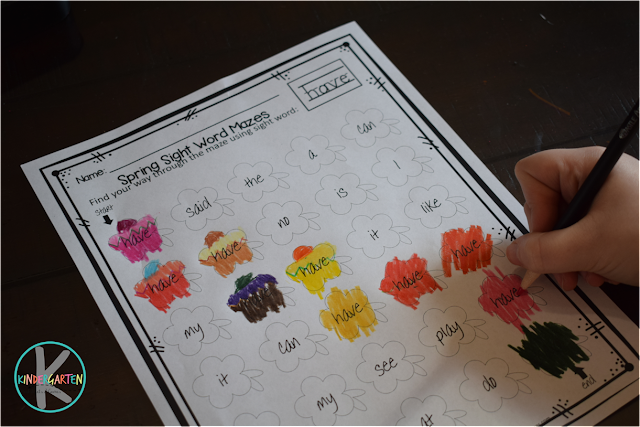 spring sight words worksheets