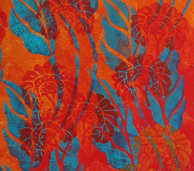 Robin Atkins, decorative painted paper detail, paint stamp stencil with acrylics