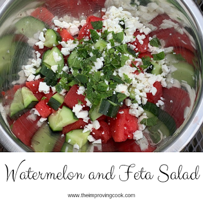Watermelon and Feta Salad ingredients in a siver bowl