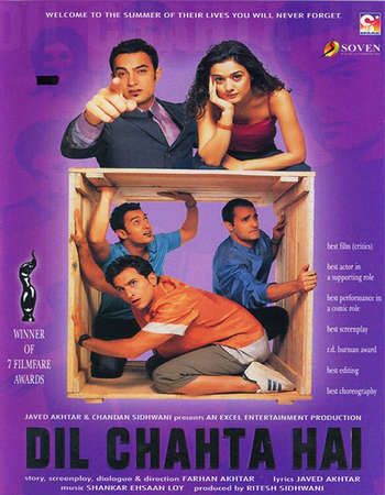 Poster Of Dil Chahta Hai 2001 Hindi 700MB BRRip 720p ESubs HEVC Watch Online Free Download downloadhub.in
