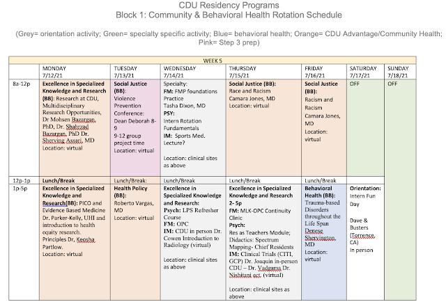 CDU FM community and behavioral health schedule 2021