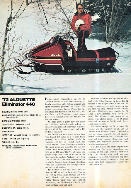 CLASSIC SNOWMOBILES OF THE PAST: 1972 ALOUETTE 440 ...