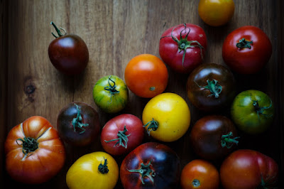 Tomatoes of many colors lying on a wooden surface. Photo by Vice Lee on Unsplash