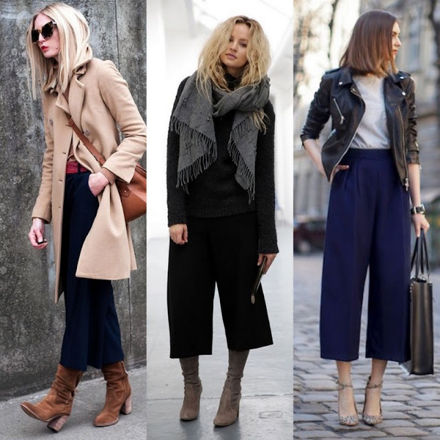 great looks for culottes with boots or heels