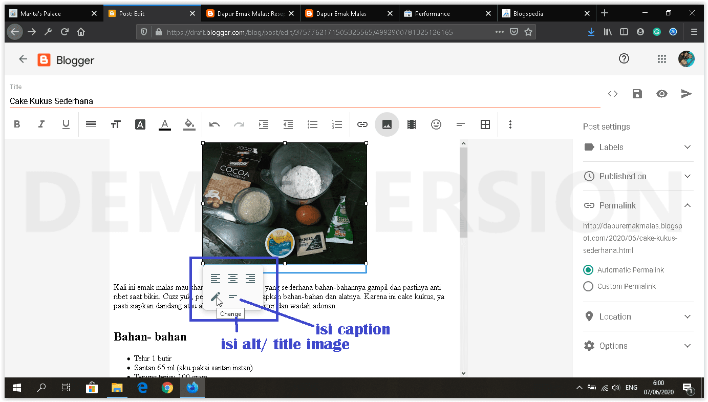 dashboard blogger baru edit image caption