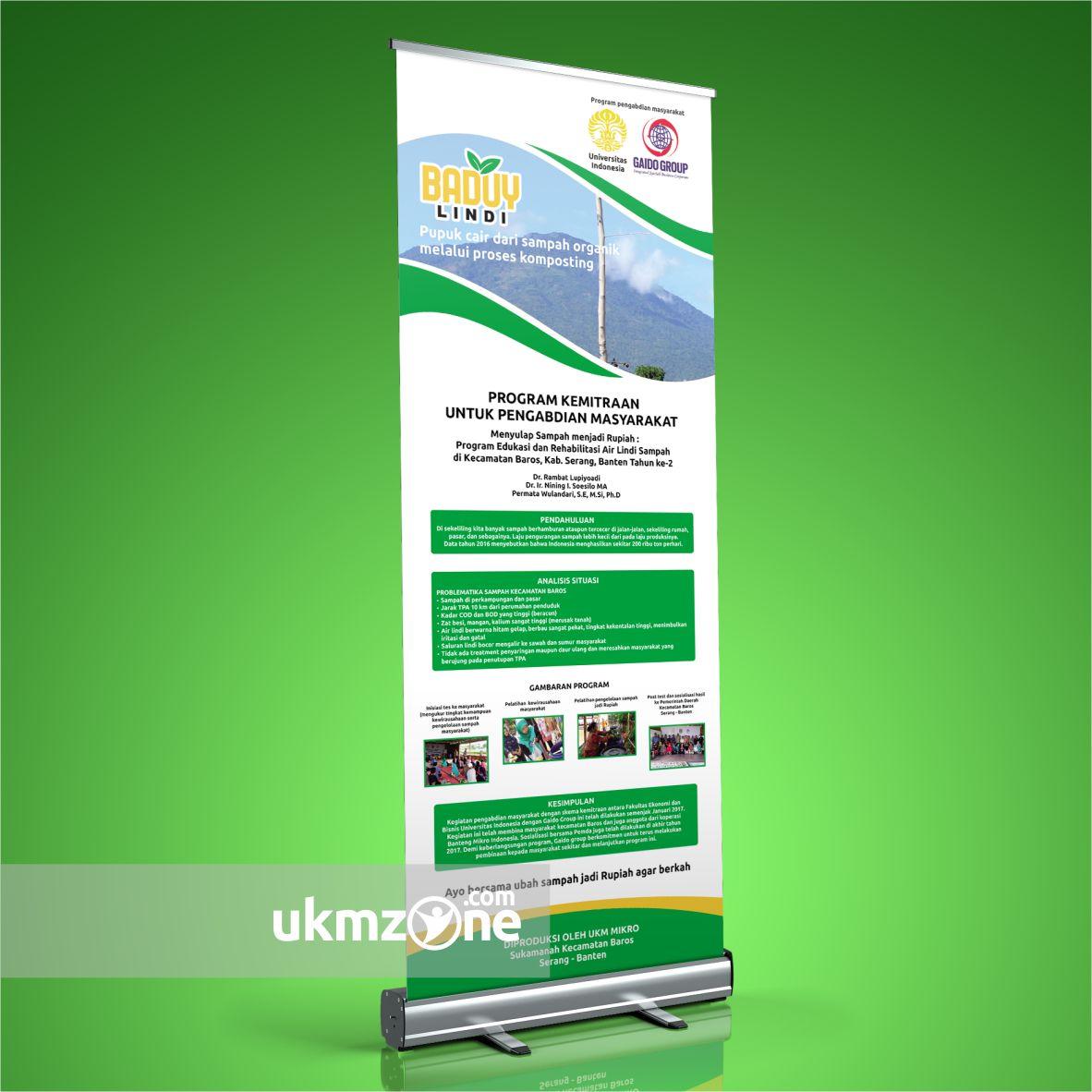 Desain roll banner untuk Universitas Indonesia & Gaido Group program pengabdian masyarakat