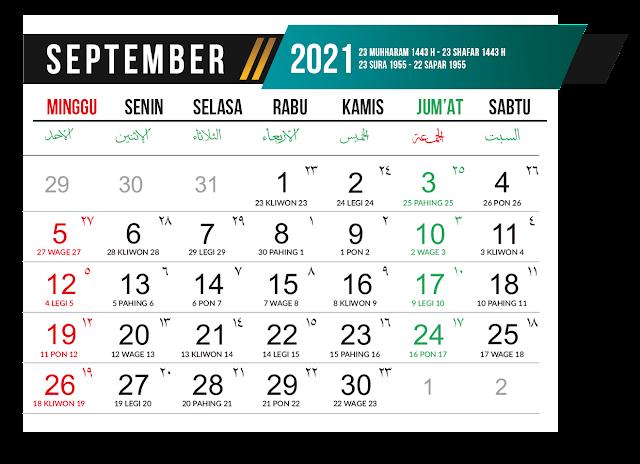 Preview Desain Template Kalender 2021 Bulan September