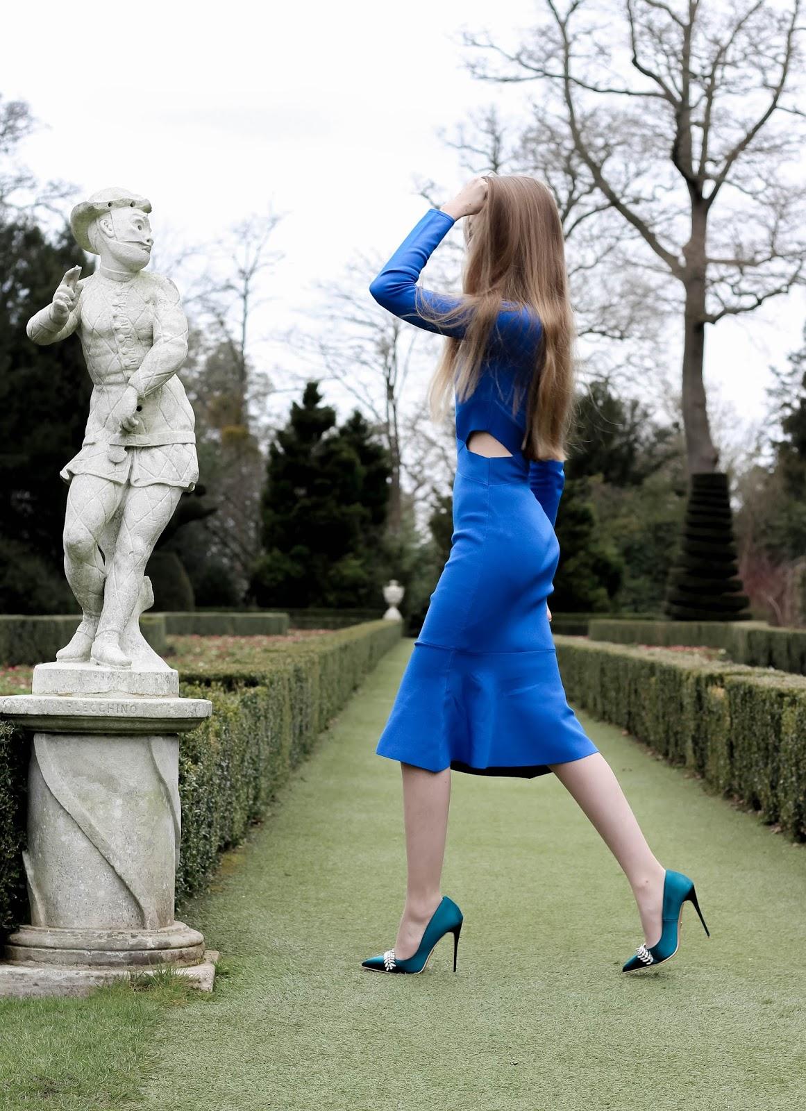 Karen Millen Blue Cut Out Flared Knit Dress