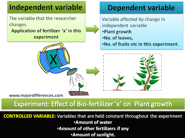 Difference between independent, dependent and controlled variable with example