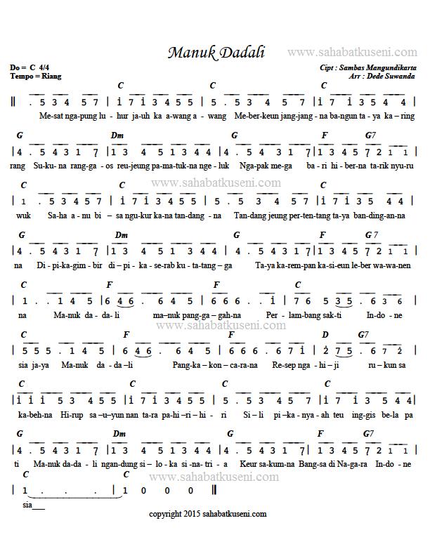 Not Pianika Manuk Dadali : pianika, manuk, dadali, Angka, Manuk, Dadali, Berikut, Lirik, Chord, Sahabatku