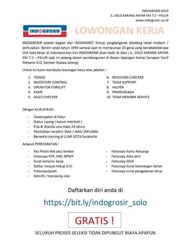Lowongan Kerja Indogrosir Indomaret Group Solo Berbagai