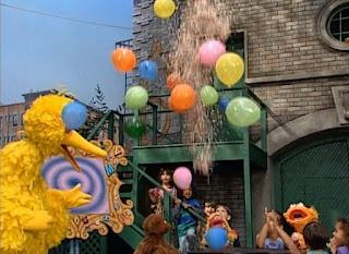Baby bear just can say the alphabet. Big Bird congratulates Baby Bear.. Sesame Street Do the Alphabet
