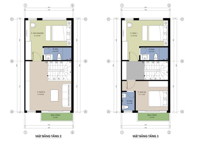 Mặt bằng tầng 2 - 3 mẫu nhà liền kề 02