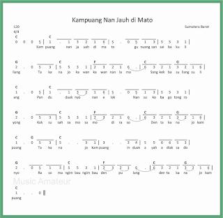 not angka lagu kampuang nan jauh di mato lagu daerah sumatera barat