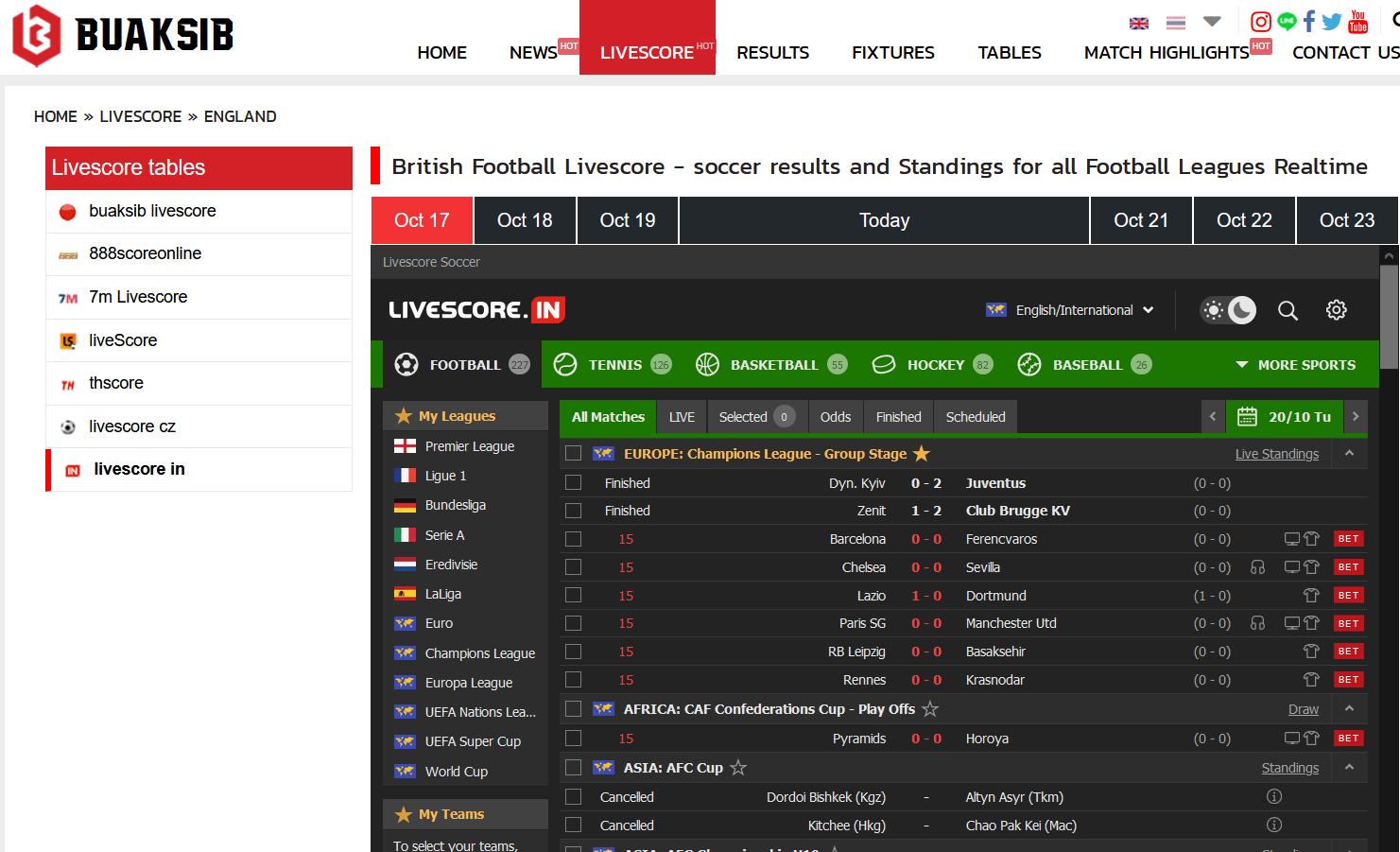 2021 Top 5 football Live-Score Websites