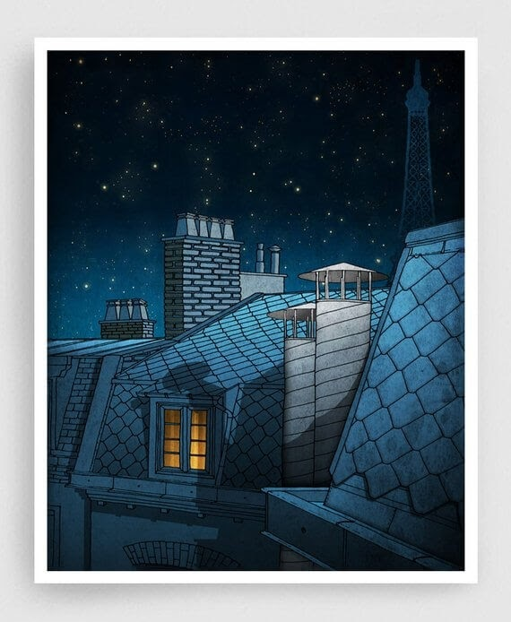 12-Dreaming-a-Dream-Paris-Rooftops-Brigitta-Paris-Illustrations-Colorful-Architecture-www-designstack-co