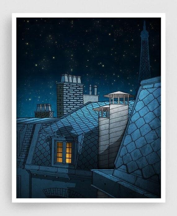 12-Dreaming-a-Dream-Paris-Rooftops-Brigitta-Paris-Illustrations-Colorful-Architecture-www-designstack-co