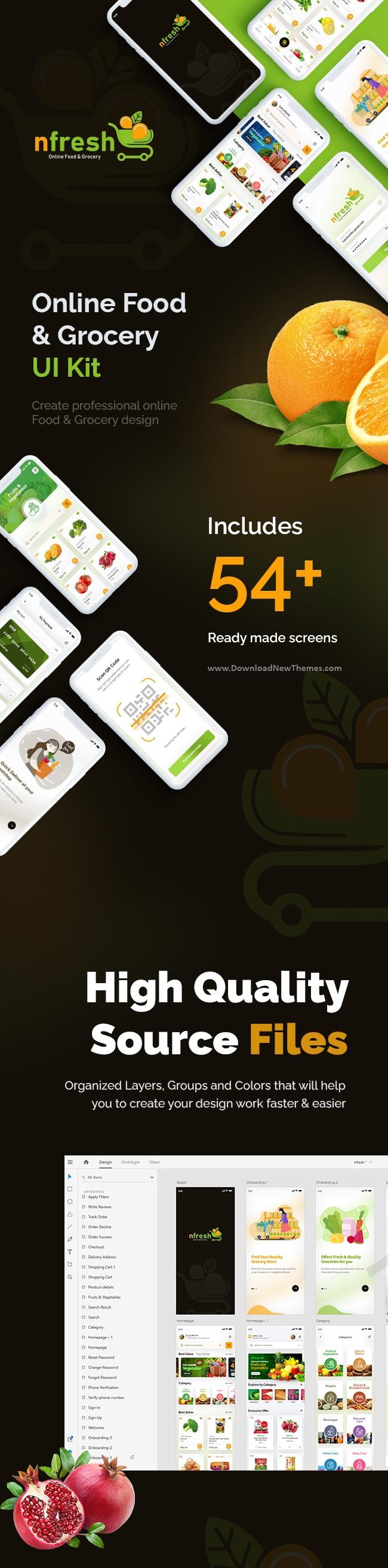 Adobe XD Food and Grocery Mobile App UI Kit