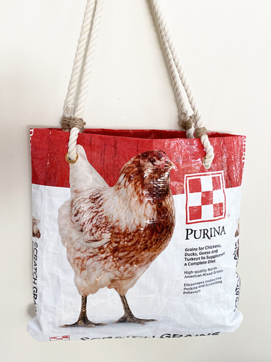 chicken feed bag with rope handles