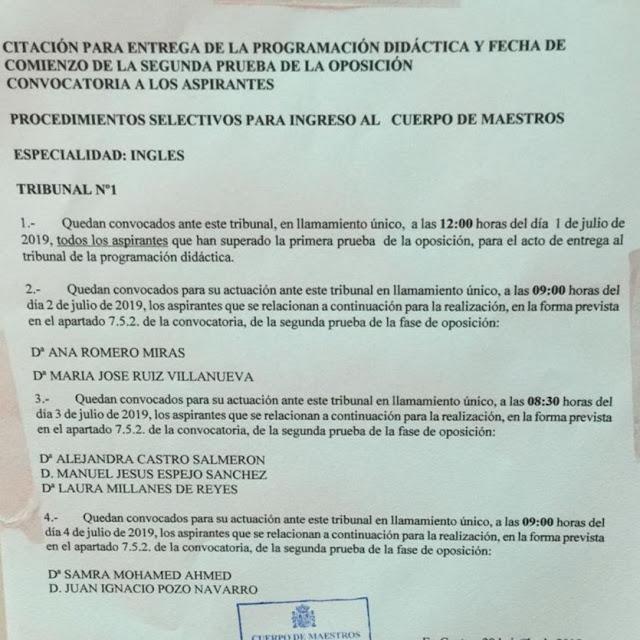 Entrega programación de Inglés y citaciones exposición oral, Enseñanza UGT Ceuta, Blog de Enseñanza UGT Ceuta