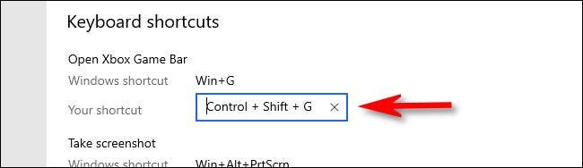 انقر فوق مربع اختصار Xbox Game Bar وأدخل اختصار لوحة المفاتيح.
