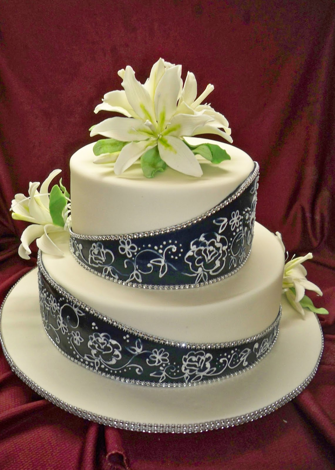 Navy Blue And White Elegant Wedding Cake With Oriental Sugar Lilies